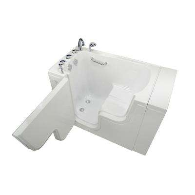 Wheelchair Transfer 52 in. Acrylic Soaking Walk in Tub in White with Fast Fill Faucet Set and Left 2 in. Dual Drain