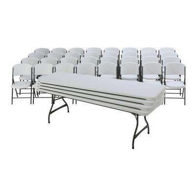 36-Piece White Outdoor Safe Stackable Folding Table Set