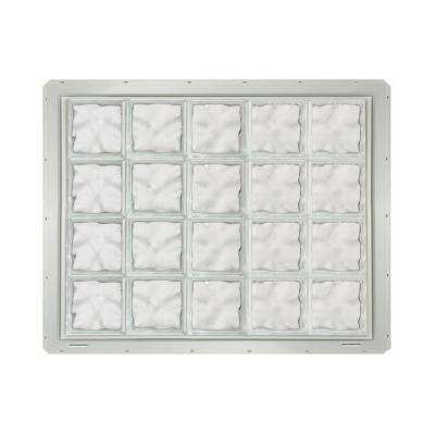 39.25 in. x 31.75 in. x 3.25 in. Wave Pattern Glass Block Window with White Colored Vinyl Nailing Fin
