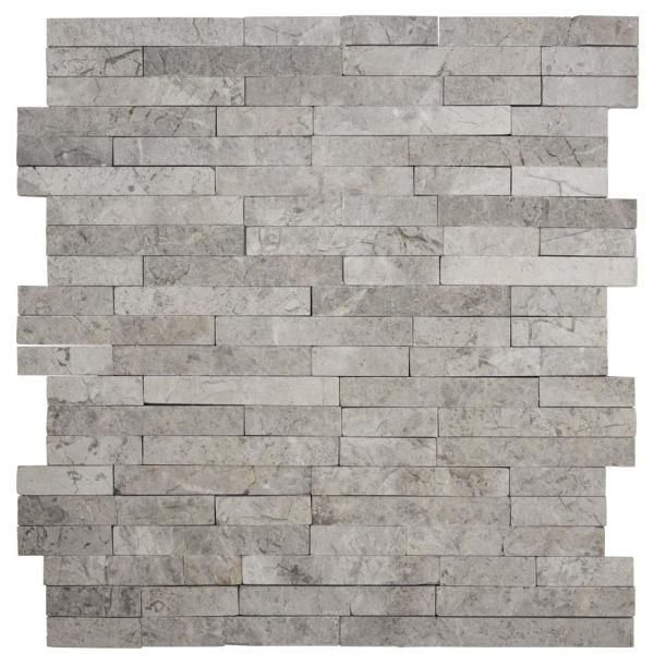 Fortress Splitface Grey 11.375 in. x 12.375 in. x 8 mm Textured Marble Mosaic Tile