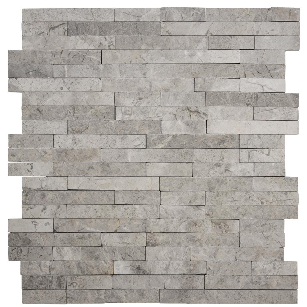 Jeffrey Court Fortress Splitface 12.5 In. X 12.5 In. X 8 Mm Marble Mosaic