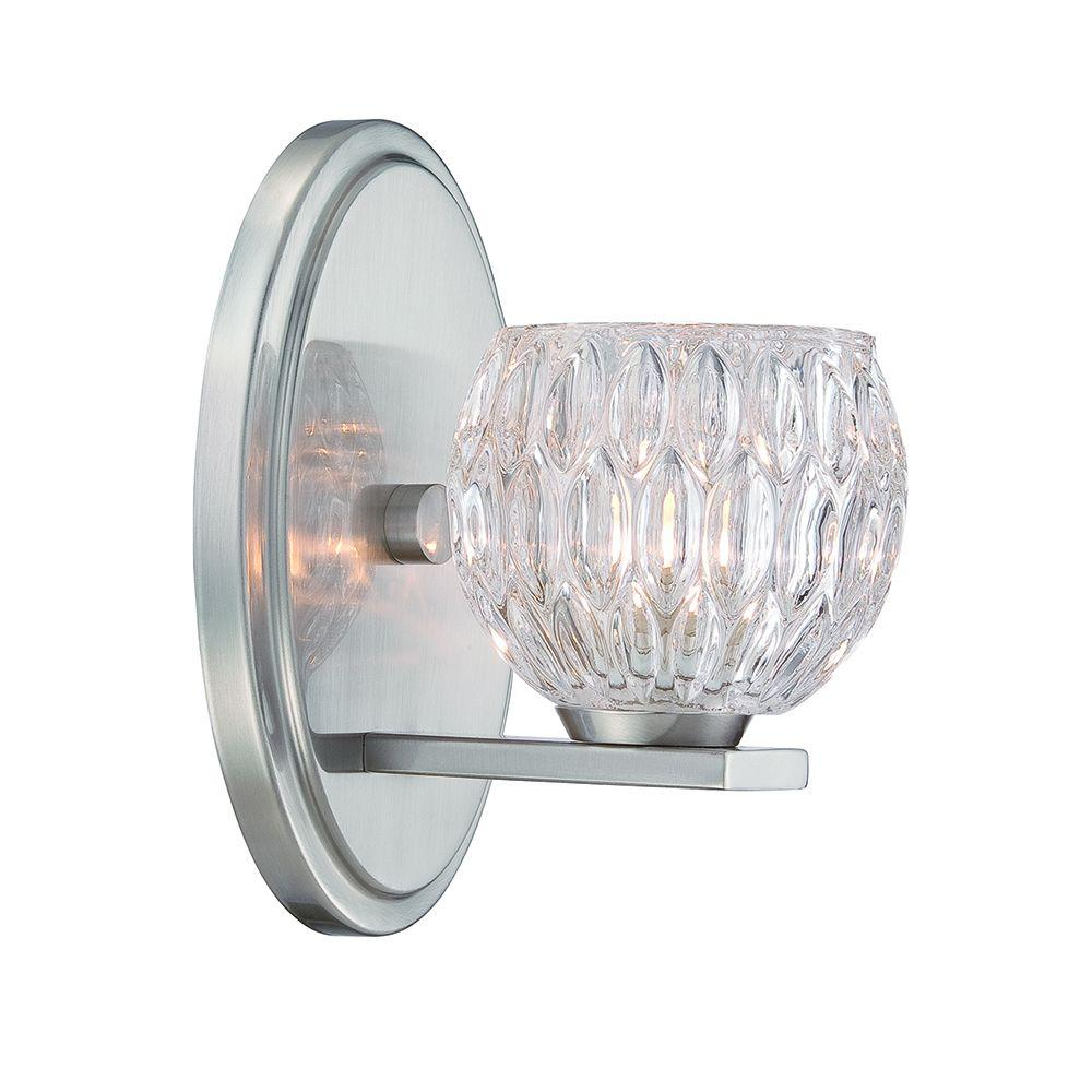 Odessa 1-Light Satin Platinum Interior Halogen Bath Vanity Light