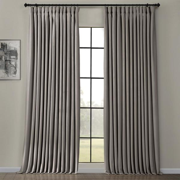 Exclusive Fabrics Furnishings Destiny Grey Gray Heritage Plush Velvet Extrawide Room Darkening Curtain 100 In W X 84 In L 1 Panel Vpyc161213 84d The Home Depot