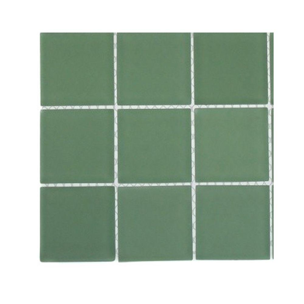 Splashback Tile Contempo Spa Green Polished Glass - 6 in. x 6 in. Tile Sample-DISCONTINUED