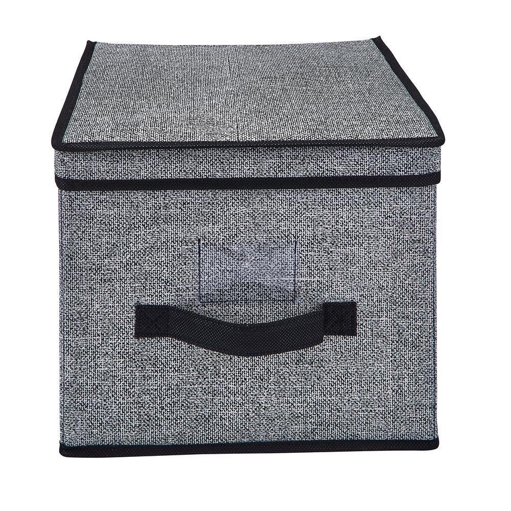 12 in. W x 10 in. H x 16 in. D Black Large Storage Box