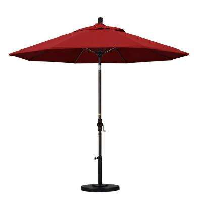 9 ft. Fiberglass Collar Tilt Patio Umbrella in Red Pacifica