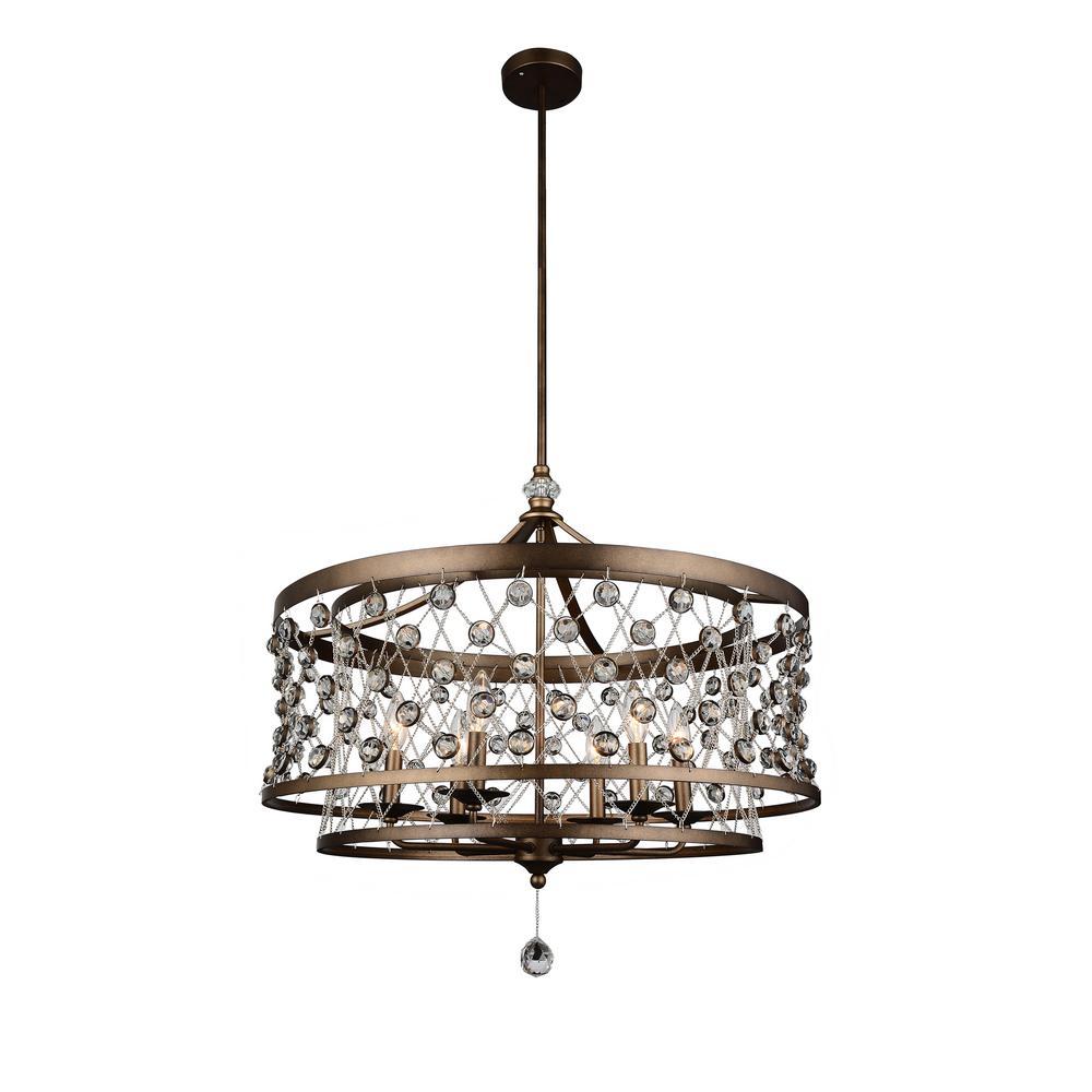 Tieda 6-Light Speckled Bronze Chandelier