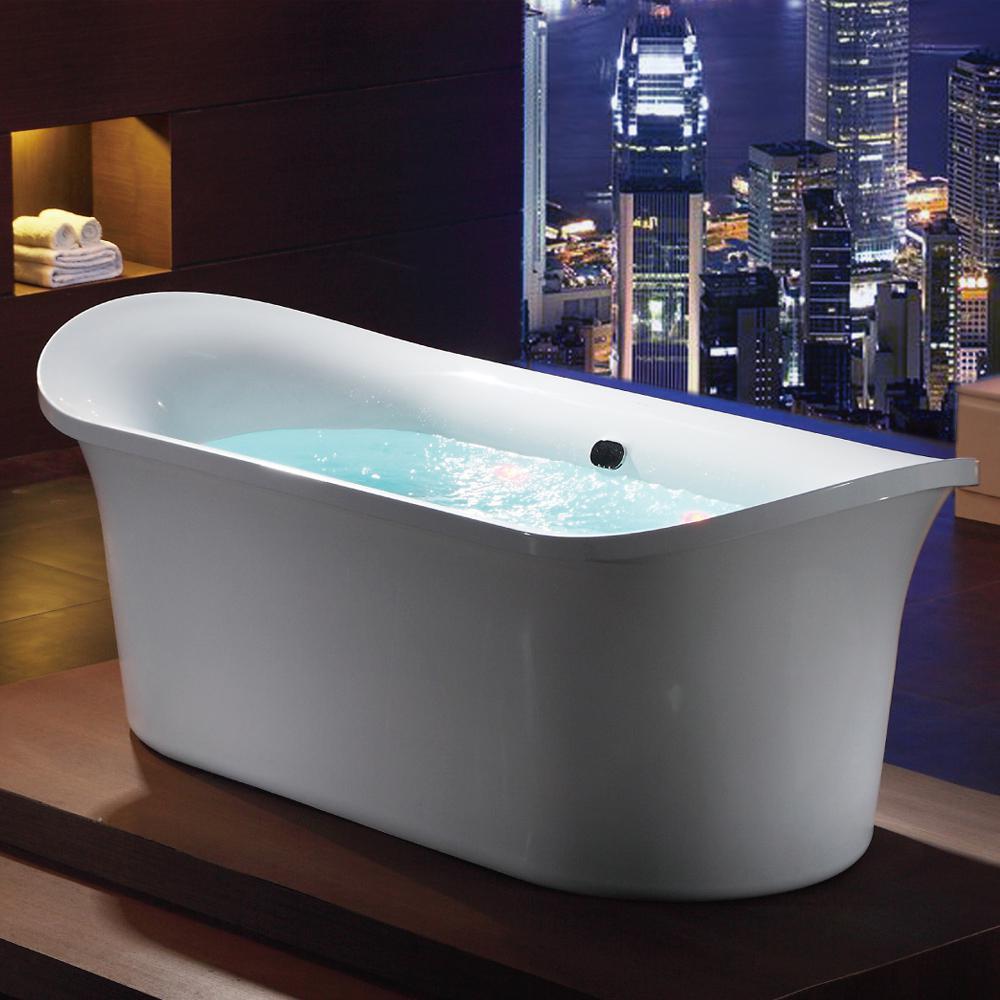 75 in. Acrylic Flatbottom Air Bath Bathtub in White