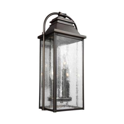Wellsworth 3-Light Antique Bronze Outdoor 18.25 in. Wall Lantern Sconce
