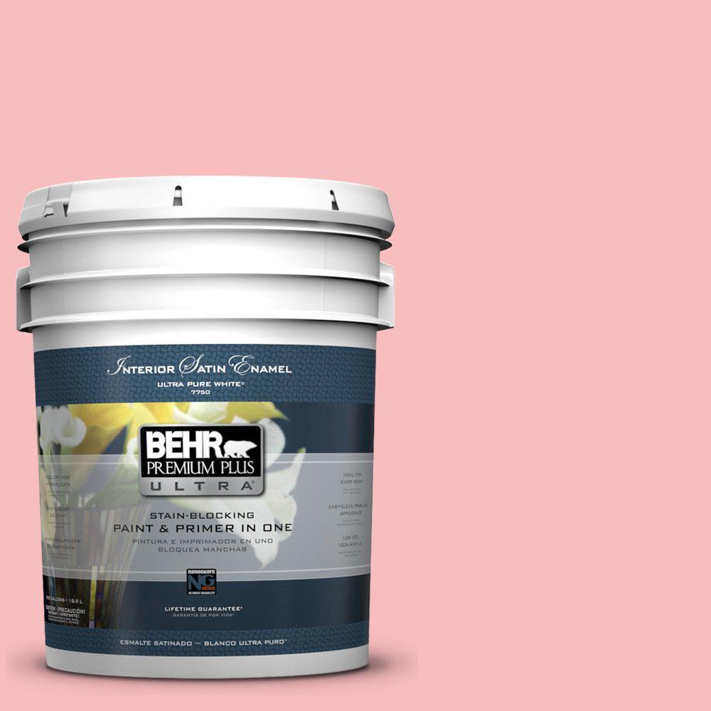 BEHR Premium Plus Ultra 5-gal. #140A-3 Carnation Bloom Satin Enamel Interior Paint