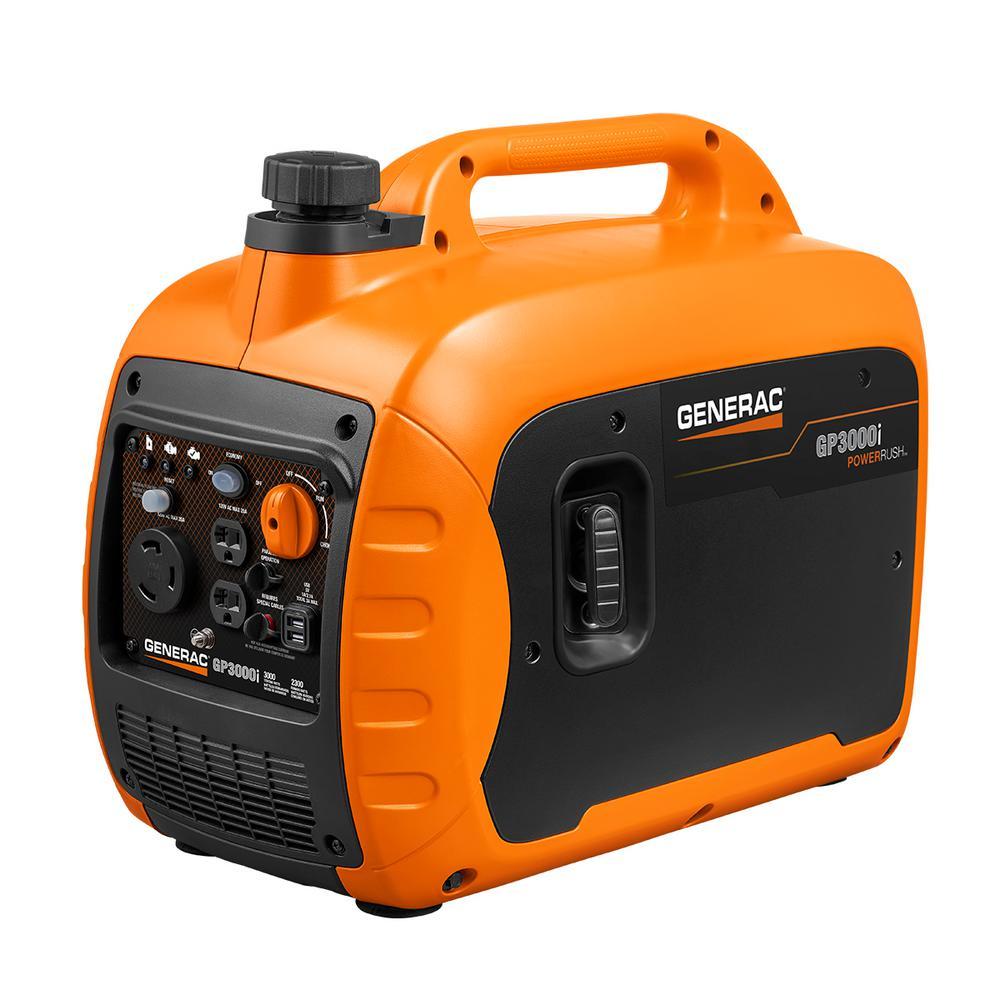 Generac GP3000i 3000-Watt Gasoline Powered Recoil Start Inverter Generator Super Quiet with PowerRUSH Technology - 50 State/CSA