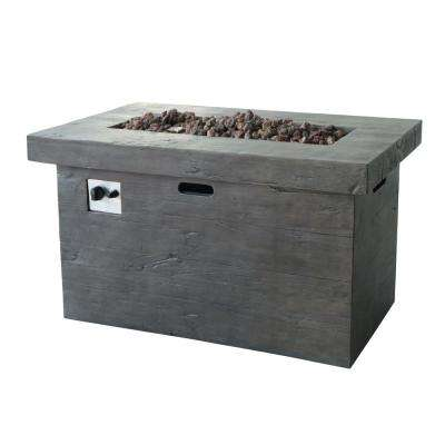 Sergio 45 in. x 25 in. Rectangular MGO Propane Fire Pit in Brown