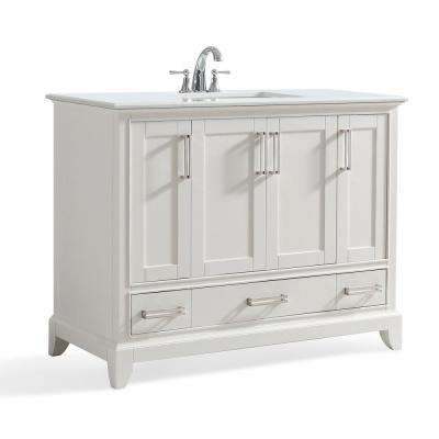 Elise 42 in. W x 22 in. D Bath Vanity in Soft White with Quartz Marble Vanity Top in Bombay White with White Basin
