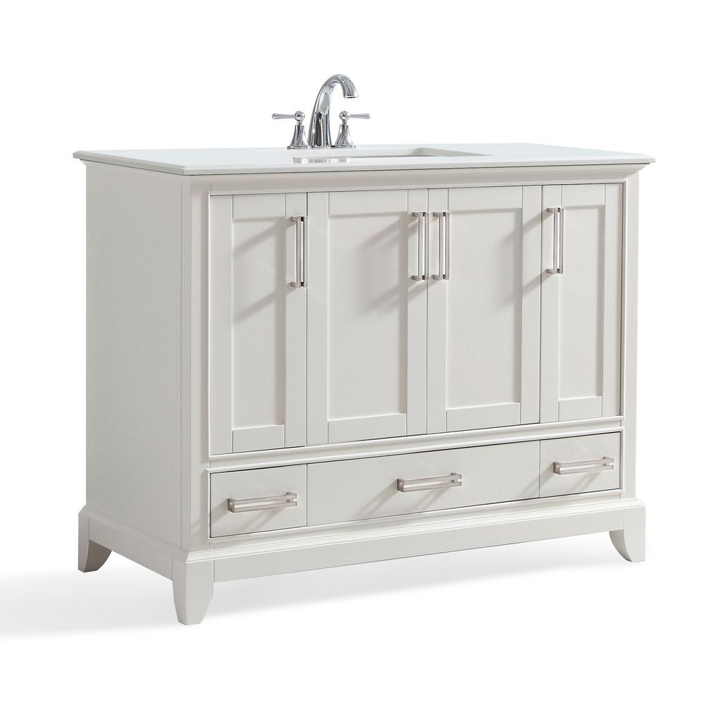 Simpli Home Vanity Soft White Stone Vanity Top Bombay White Basin