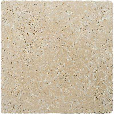 Trav Fontane Tumbled Ivory Classic 15.98 in. x 15.98 in. Travertine Floor and Wall Tile