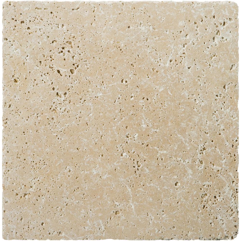 X Square Travertine Tile Natural Stone Tile The Home Depot - 16x16 tiles square feet