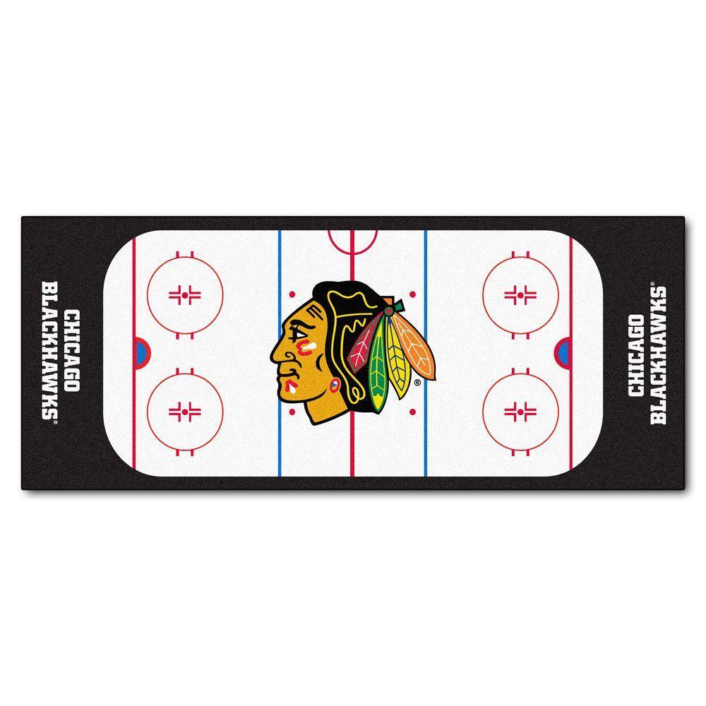FANMATS Chicago Blackhawks 2 ft. 6 in. x 6 ft. Rink Rug Runner Rug