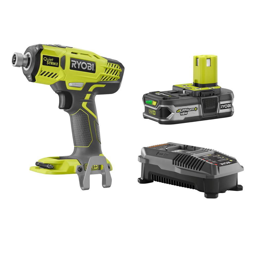 ryobi 18 volt one lithium ion cordless 1 4 in quietstrike pulse driver kit with 1 1 5ah. Black Bedroom Furniture Sets. Home Design Ideas