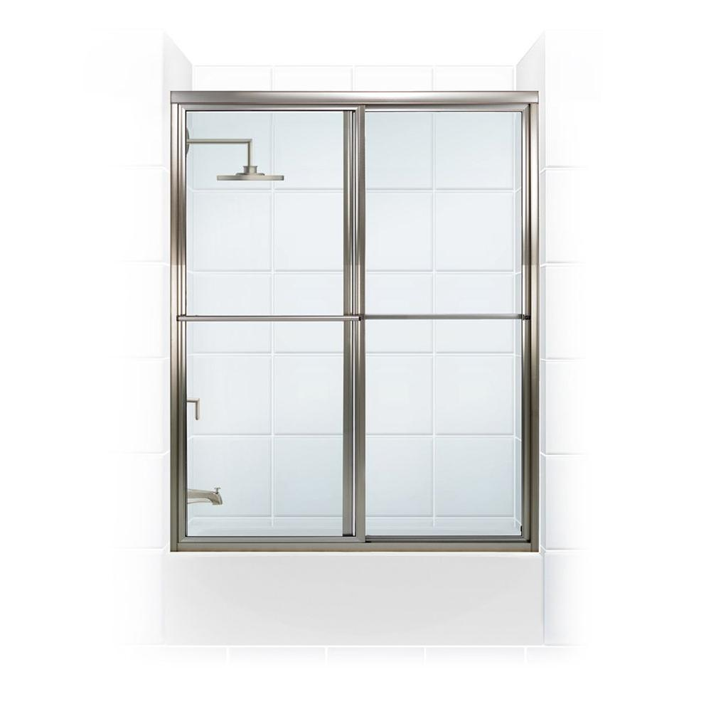 Coastal Shower Doors Newport Series 48 in. x 58 in. Framed Sliding Tub Door with Towel Bar in Brushed Nickel with Clear Glass