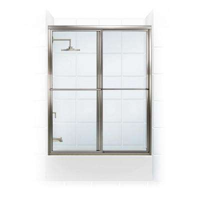Newport Series 54 in. x 55 in. Framed Sliding Tub Door with Towel Bar in Brushed Nickel and Clear Glass