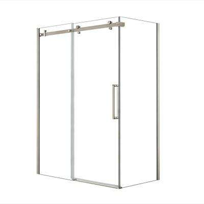 Halo 60 in. x 33-7/8 in. Frameless Corner Sliding Shower Enclosure in Brushed Nickel
