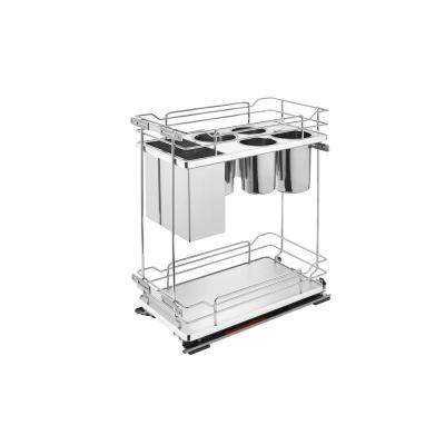 21 in. H x 11.38 in. W x 22.38 in. D Two-Tier Pull-Out Gray Wire Organizer with knife Block