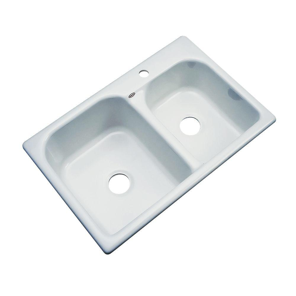 Thermocast Cambridge Drop-In Acrylic 33 in. 1-Hole Double...