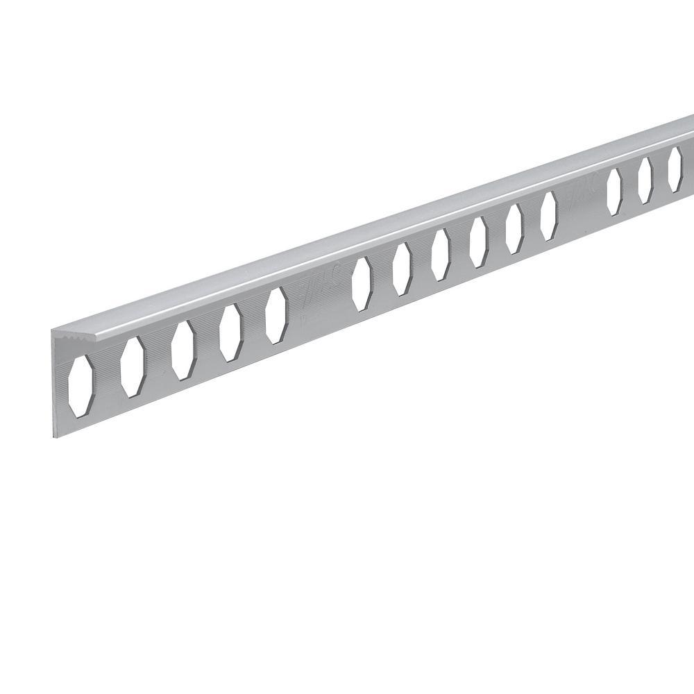 Novosuelo Bright Silver 9/16 in. x 98-1/2 in. Aluminum Tile Edging Trim