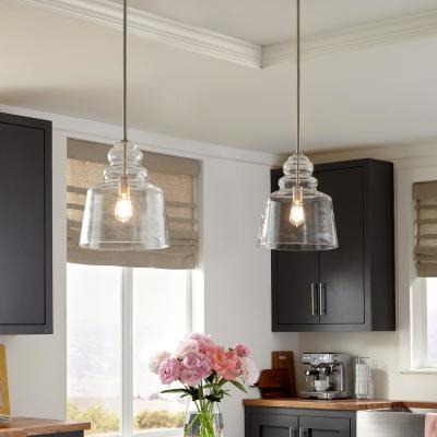 Agatha 12.5 in. W x 14.75 in. H 1-Light Clear Glass Pendant with Brushed Nickel Accents and Vintage Edison Bulb
