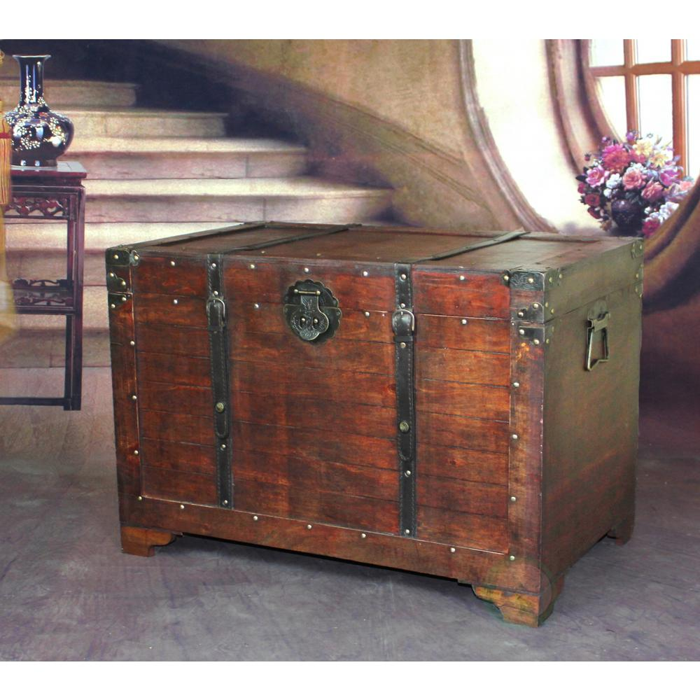 Vintiquewise old fashioned wood storage trunk wooden treasure hope vintiquewise old fashioned wood storage trunk wooden treasure hope chest gumiabroncs