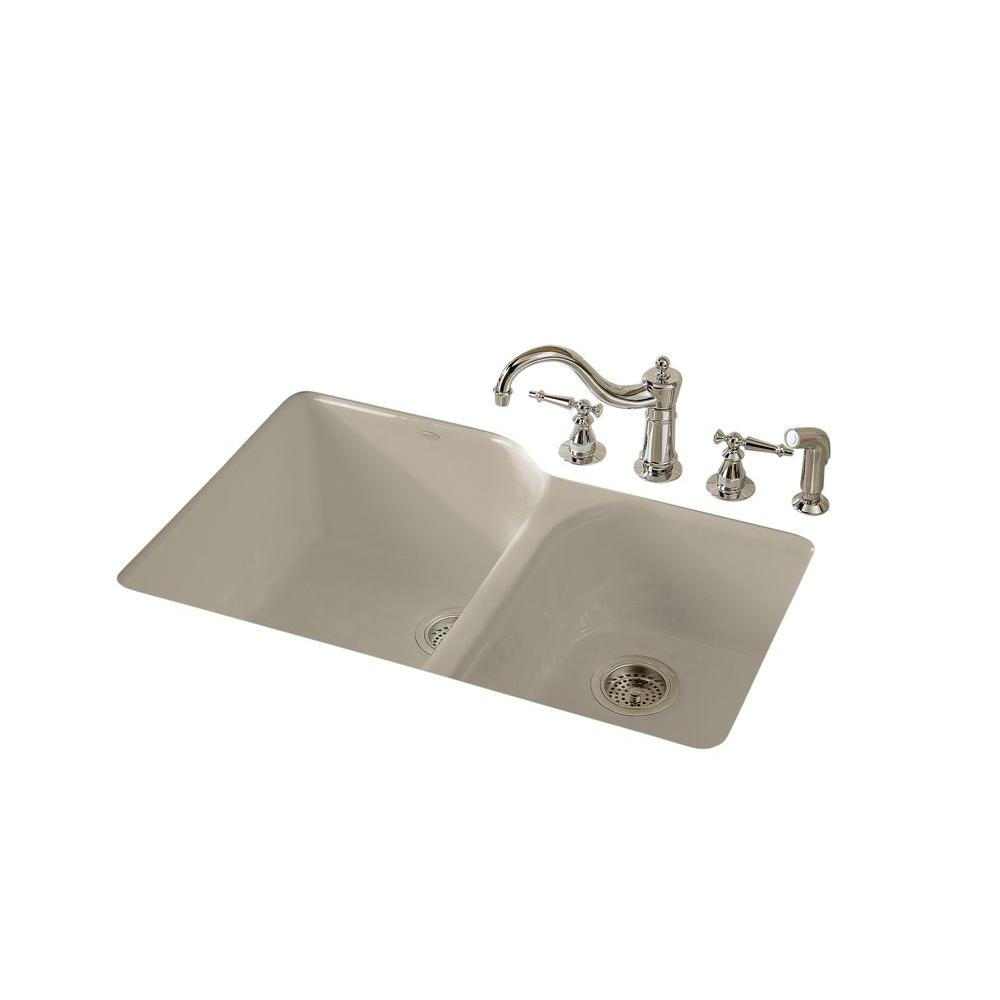 Executive Chef Undermount Cast-Iron 33 in. 4-Hole Double Bowl Kitchen Sink