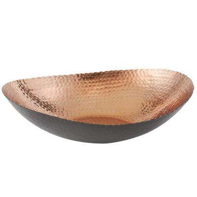 14.5 in. by 11 in. Large Oval Bowl in Black and Copper
