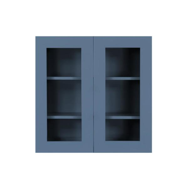 Lifeart Cabinetry Lancaster Blue Plywood Shaker Stock Assembled Wall Glass Door Kitchen Cabinet 30 In W X 12 In D X 36 In H Alb Wmd3036 The Home Depot