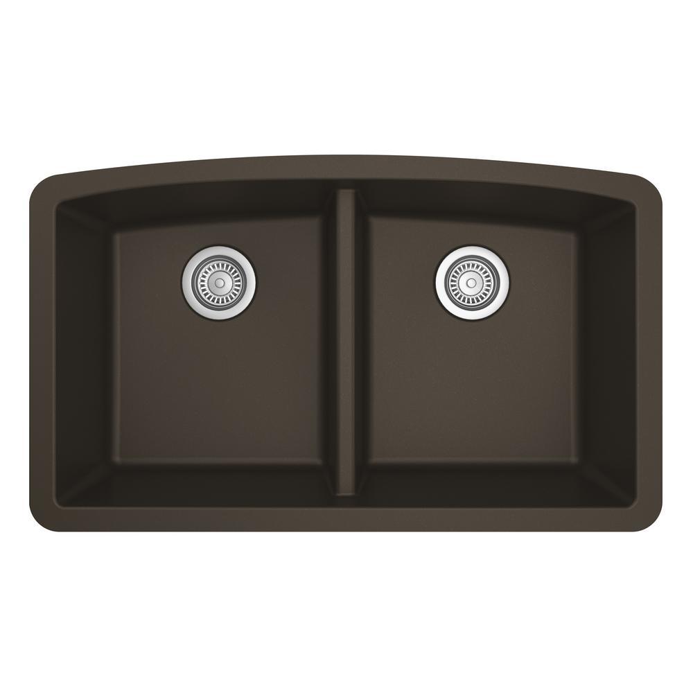 Undermount Quartz Composite 32 in. 50/50 Double Bowl Kitchen Sink in Brown