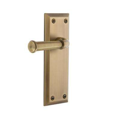 Fifth Avenue Plate Dummy with Georgetown Door Lever in Vintage Brass