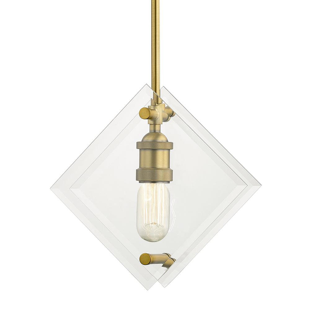 Home Decorators Collection 11 in. 1-Light Aged Brass Pendant with Beveled Glass Panels