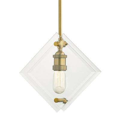 11 in. 1-Light Aged Brass Pendant with Beveled Glass Panels