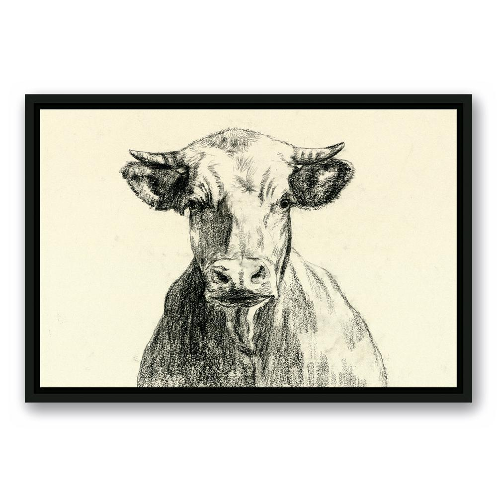 16 in. x 24 in. ''Farmhouse Cow Sketch'' Printed Framed Canvas