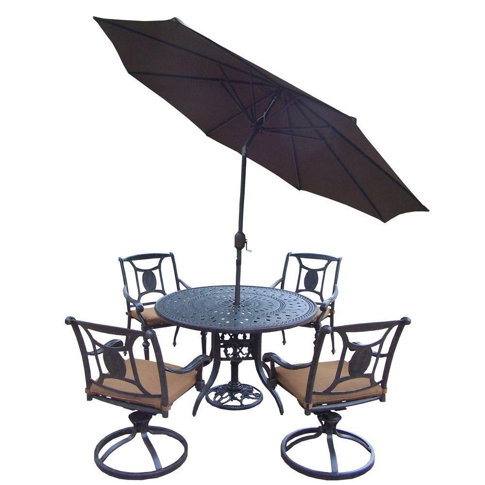 Cast Aluminum 7-Piece Round Patio Dining Set with Sunbrella Cushions and Umbrella