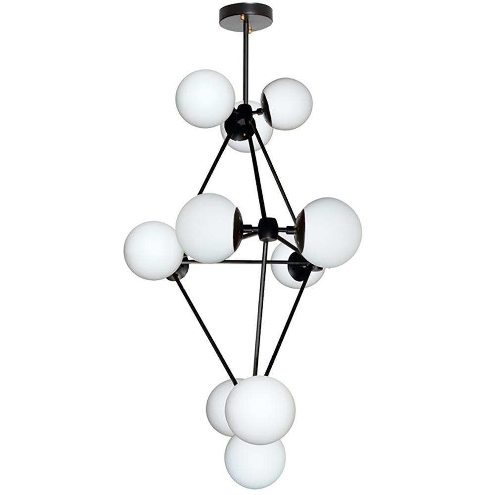12-Light Black Chandelier with Frosted Glass