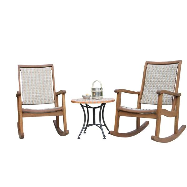 3-Piece Ash Grey Wicker and Eucalyptus Outdoor Rocking Chair Set with Terra Cotta Accent Table