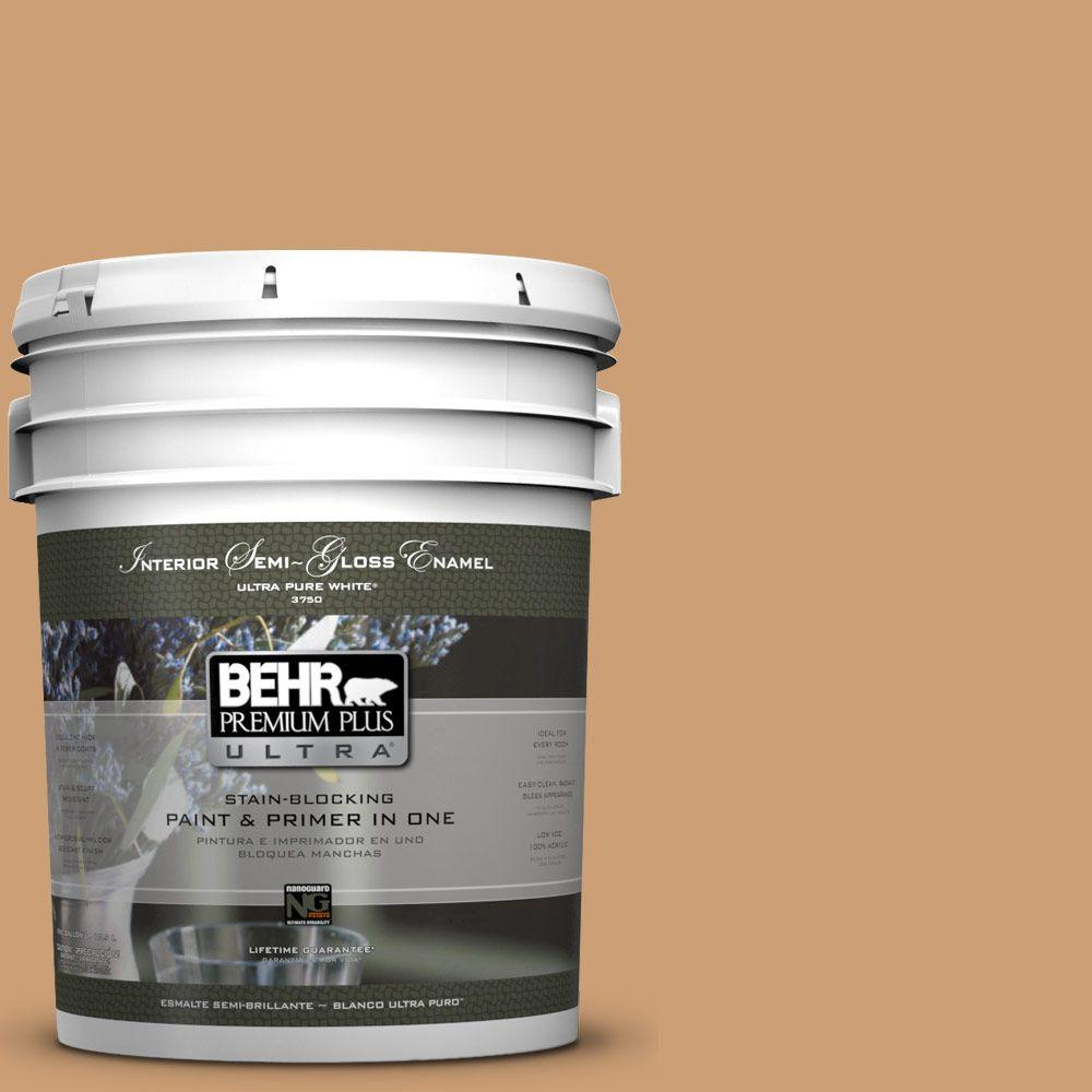 BEHR Premium Plus Ultra 5-gal. #S250-4 Fresh Croissant Semi-Gloss Enamel Interior Paint