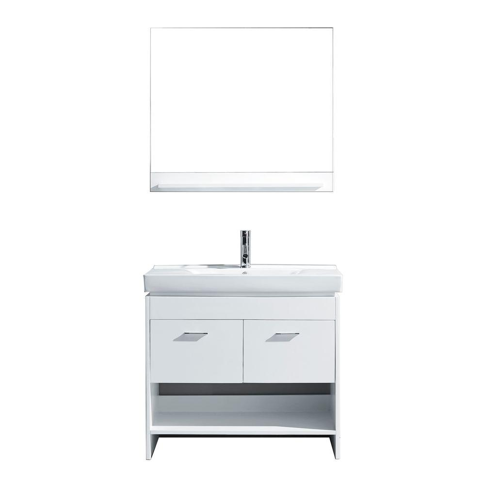 Virtu USA Gloria 36 in. W Bath Vanity in White with Ceramic Vanity Top in White Ceramic with Square Basin and Mirror and Faucet