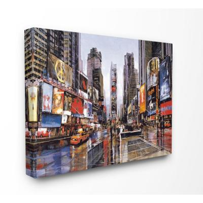 "30 in. x 40 in.""Times Square Crowds on a Rainy Day Painting"" by Artist Matthew Daniels Canvas Wall Art"