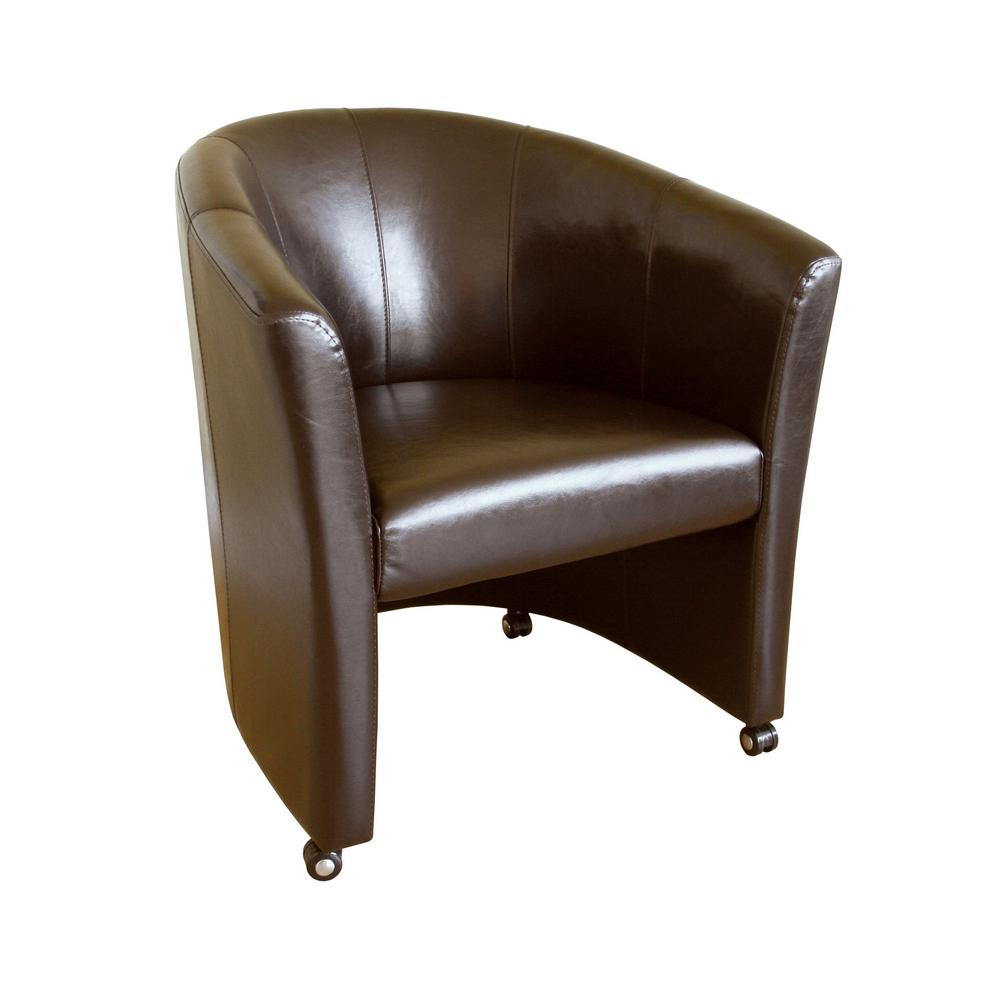 Baxton Dark Brown Faux Leather Upholstered Accent Chair