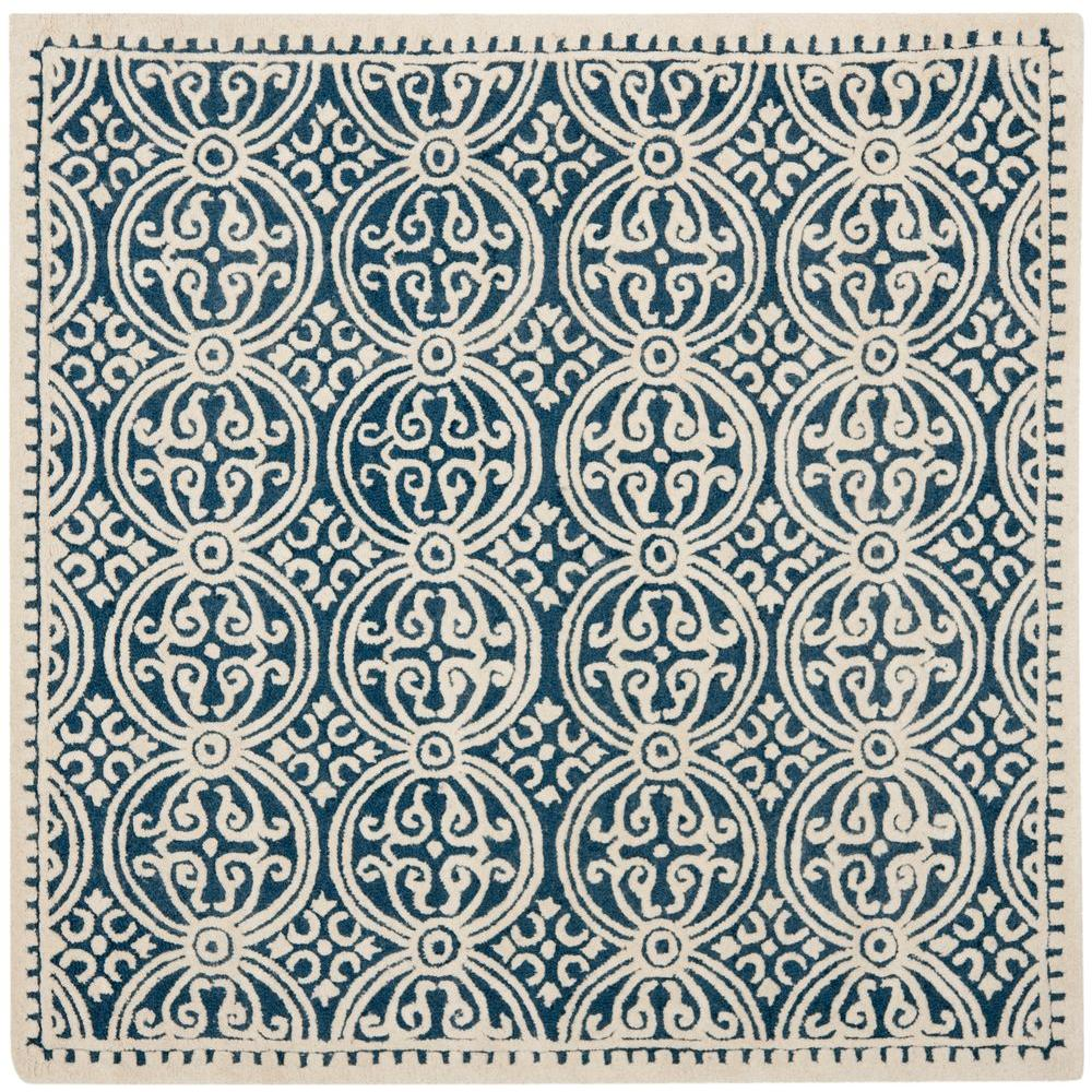 Cambridge Navy Blue/Ivory 6 ft. x 6 ft. Square Area Rug