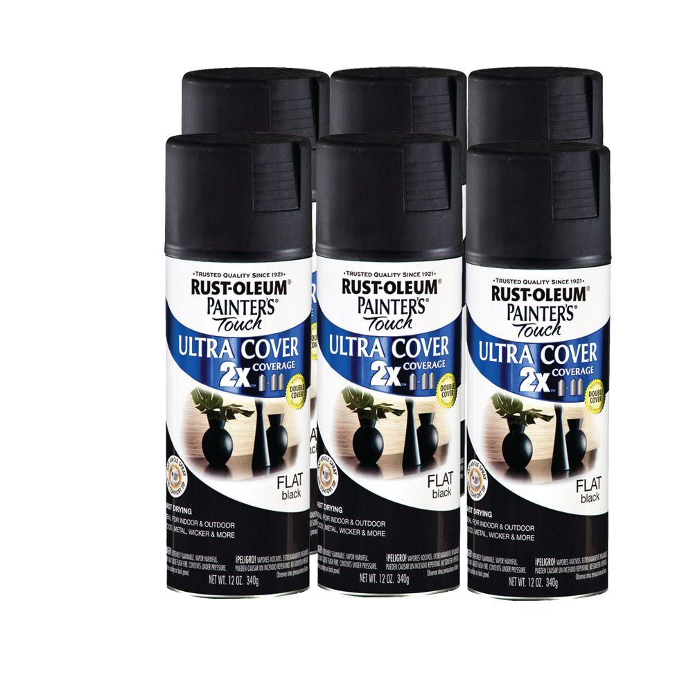 Rust-Oleum 12 oz Flat Black Painters Touch (6-Pack)-DISCONTINUED