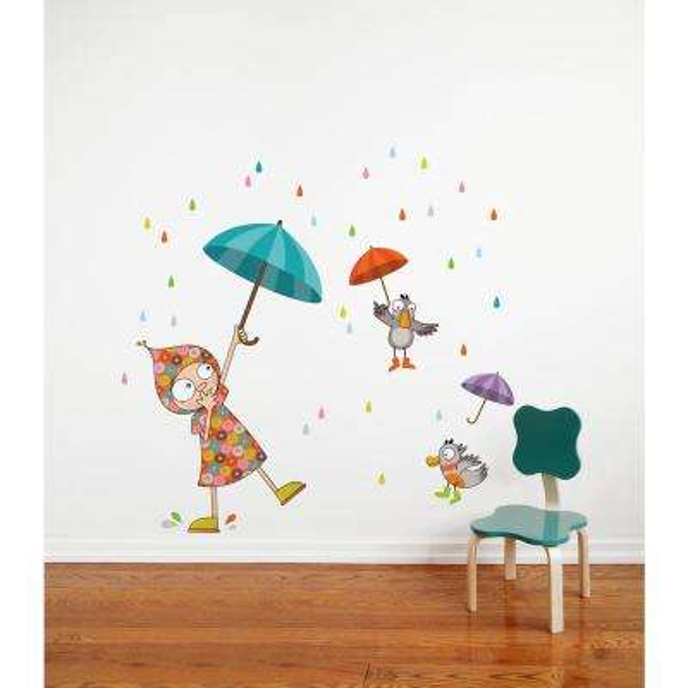 "(54.7 in x 53.9 in) Multi-Color ""Dancing in the Rain"" Kids Wall Decal"