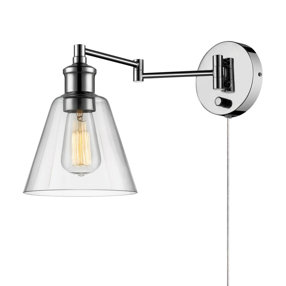 Globe Electric LeClair 1 Light Chrome Swing Arm Wall Sconce