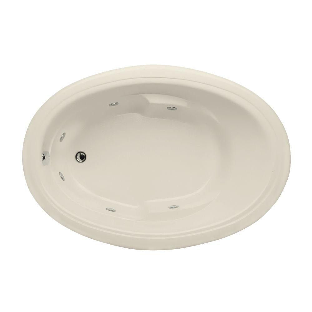 Studio Oval 5 ft. Reversible Drain Whirlpool Tub in Biscuit
